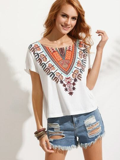 Tribal Tropical Print Tee