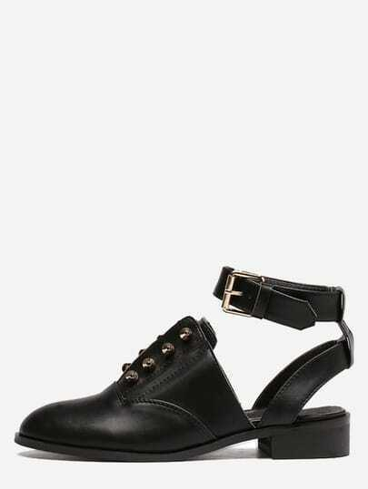 Black Round Toe Buckle Strap Studded Chunky Pumps