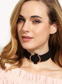 Black Metal Ring Choker Necklace