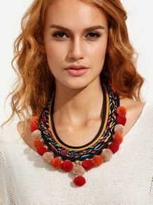 Exotic Multilayer Braided Pompom Necklace