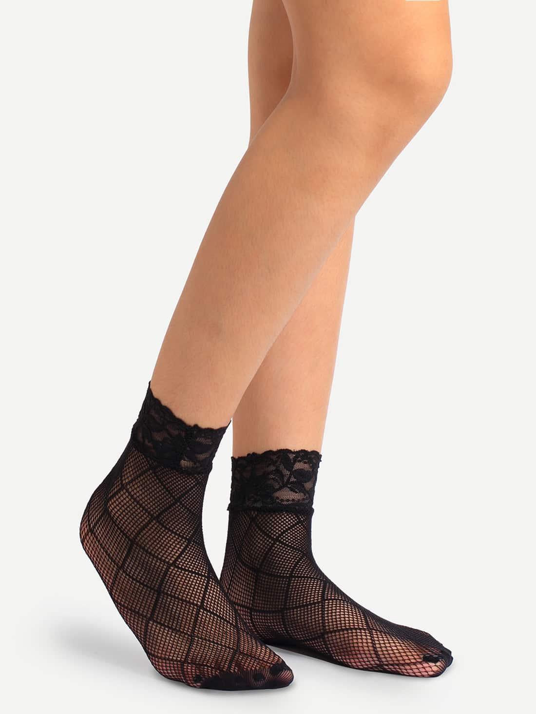 Black Crisscross Hollow Mesh Lace Ankle Socks sock160706302