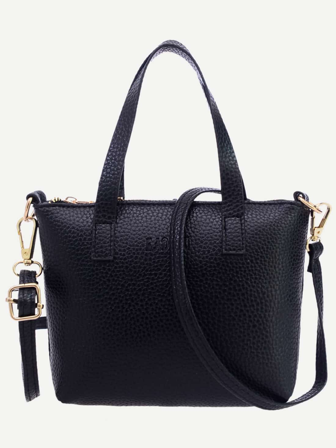 Black Pebbled Faux Leather Tote Bag With Strap