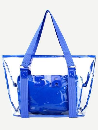 Blue Trim Clear Tote Bag With Make Up Bag