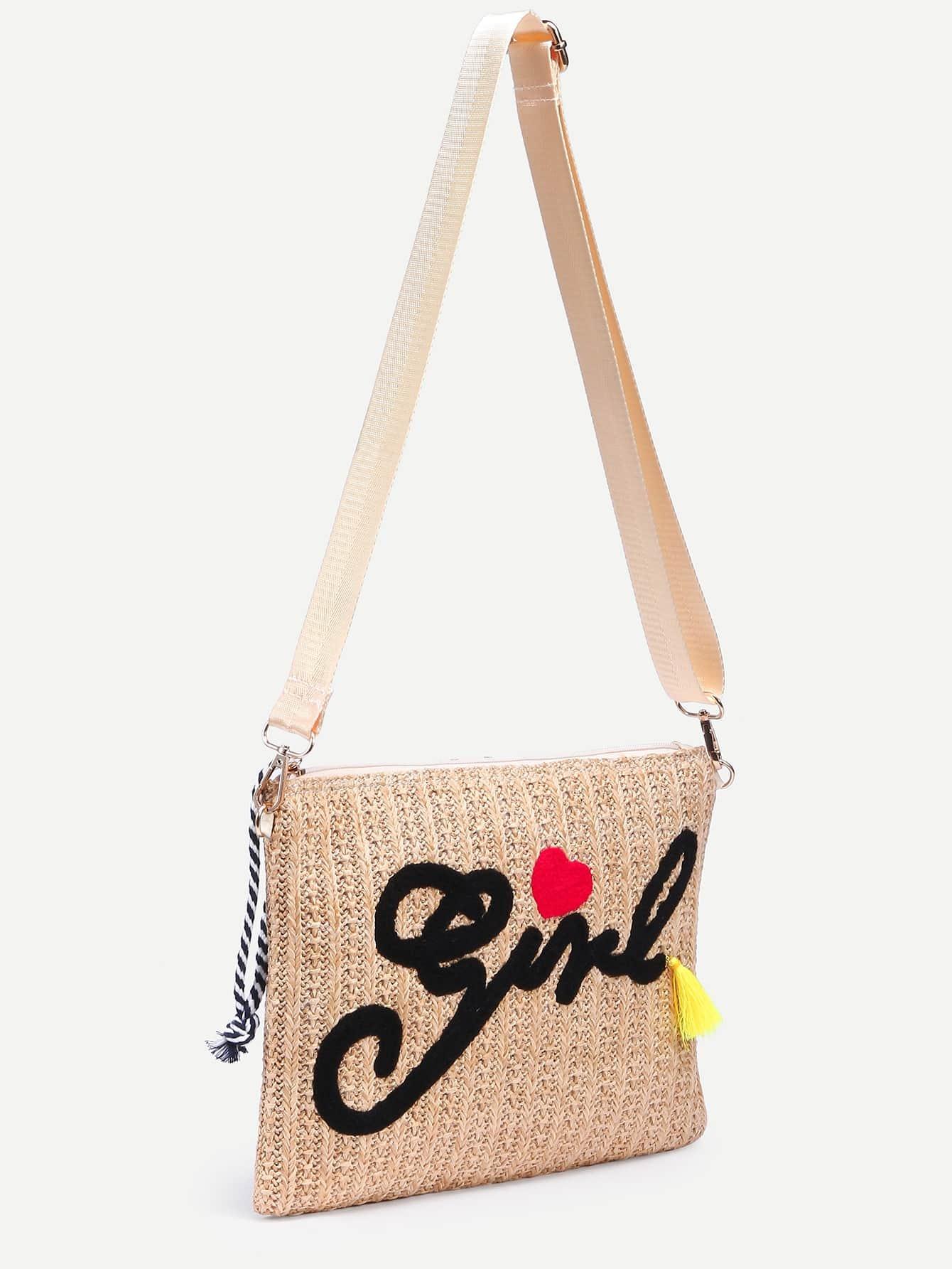 beige letter embroidered straw crossbody bag shein sheinside