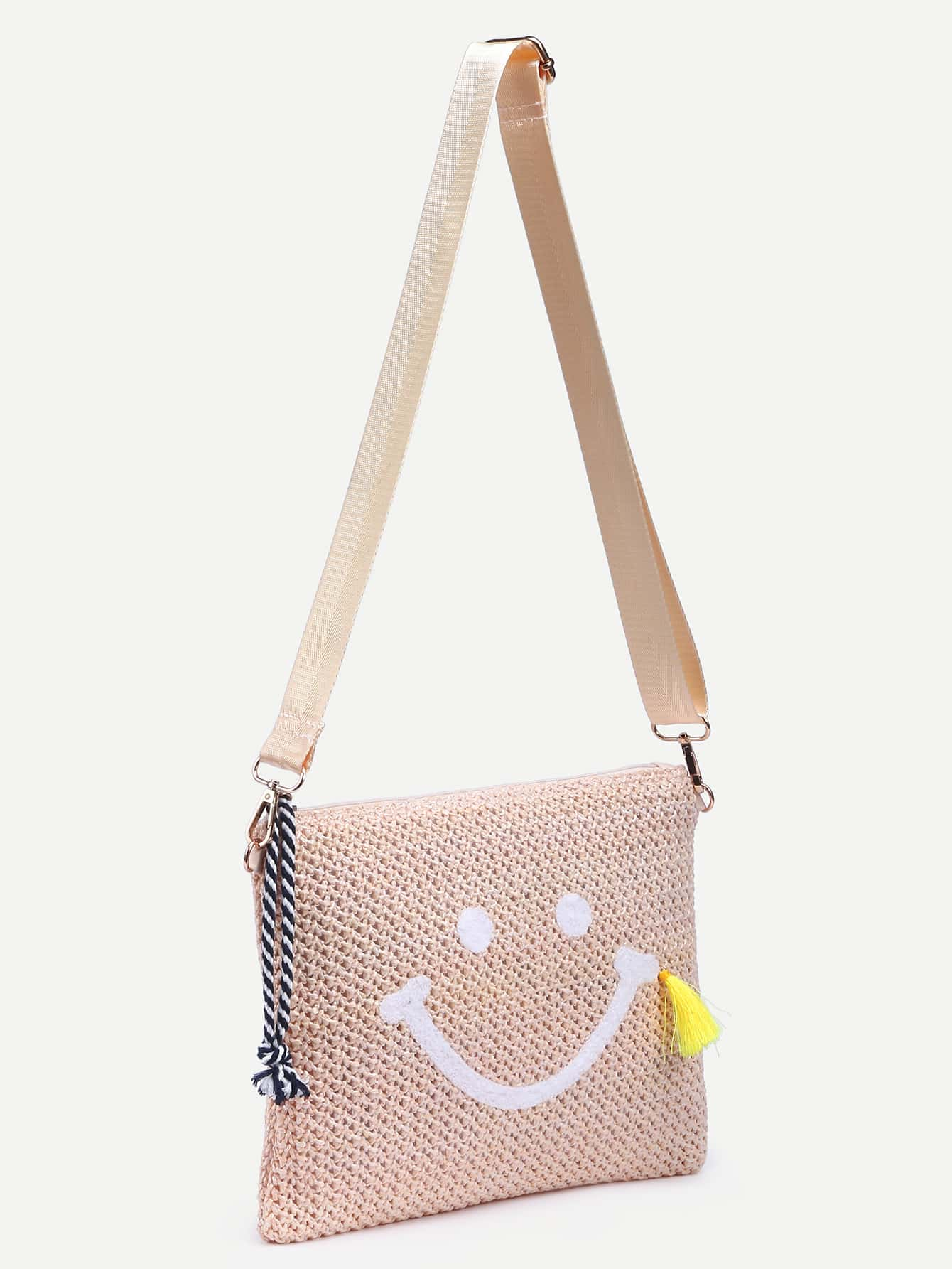beige smiley embroidered straw crossbody bag shein