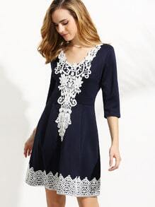 Navy V Neck Crochet Applique Box Pleated Dress