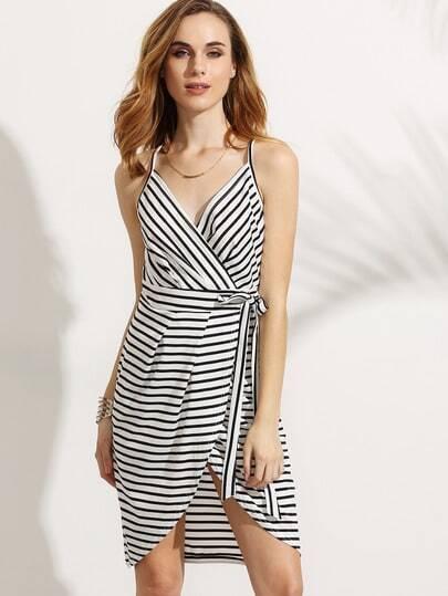 White Striped Wrap Racerback Cami Dress