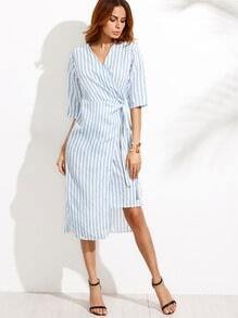 Blue V Neck Vertical Striped Knotted Wrap Dress