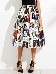 Random Graphic Print Flare Skirt
