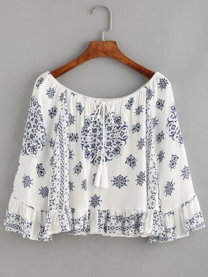 White Boat Neck Tribal Print Lace Up Ruffle Hem Top