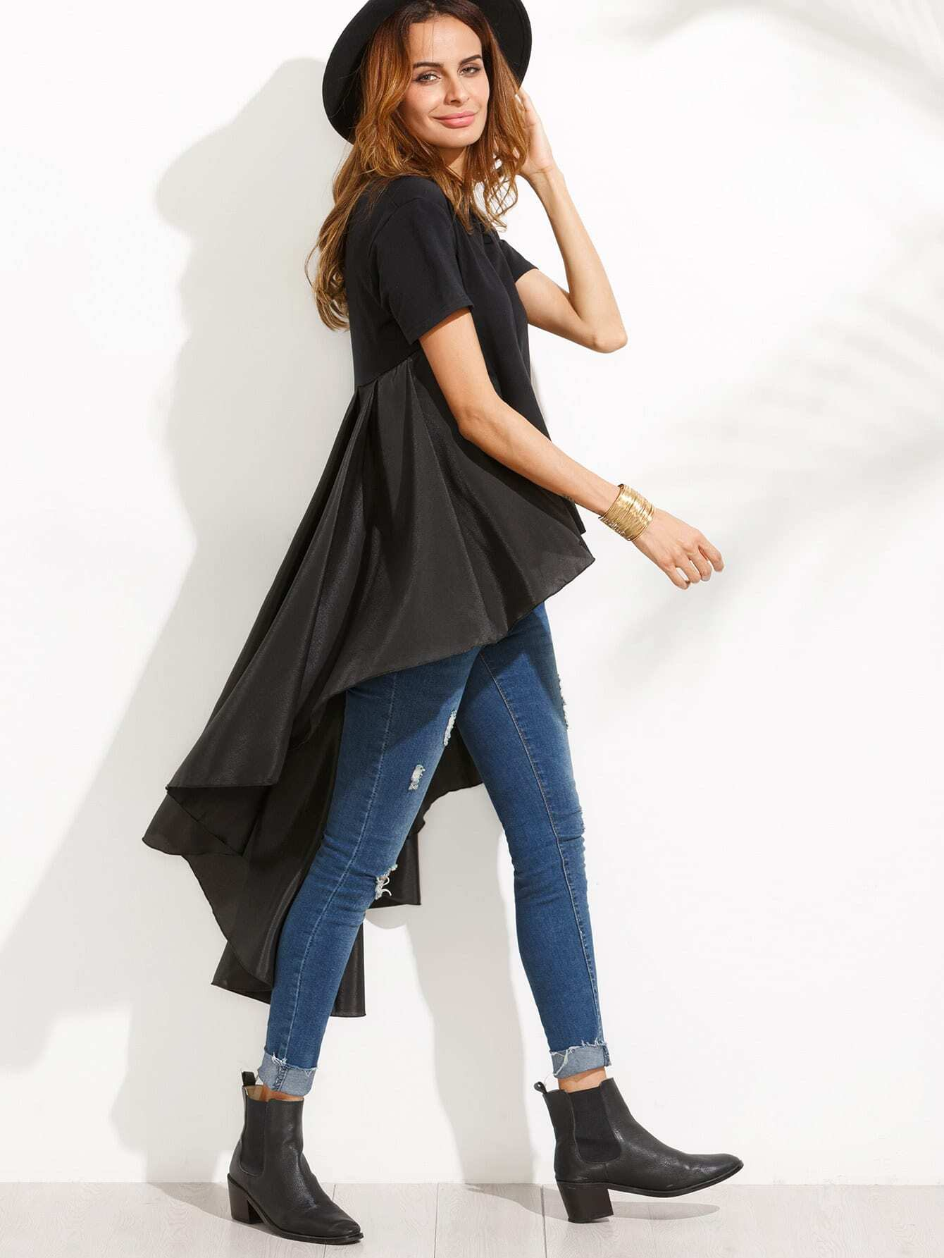 Black High Low Top With Ruffle Tail