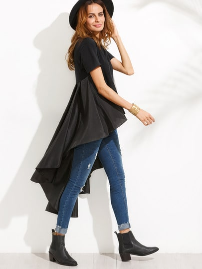 Dip Hem Top With Ruffle Tail
