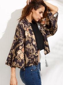 Floral Print Fringe Kimono