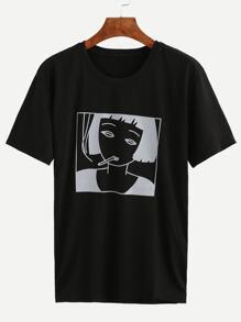 T-shirt imprimé fille manche courte - noir