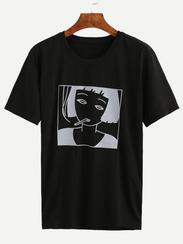 Girl Print Loose T-shirt -SheIn(Sheinside)