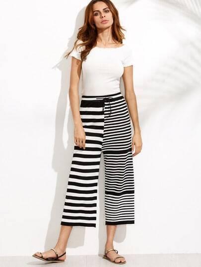 Black White Striped Drawstring Waist Wide Leg Pants