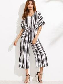 V Neck Vertical Striped Knotted Back Jumpsuit