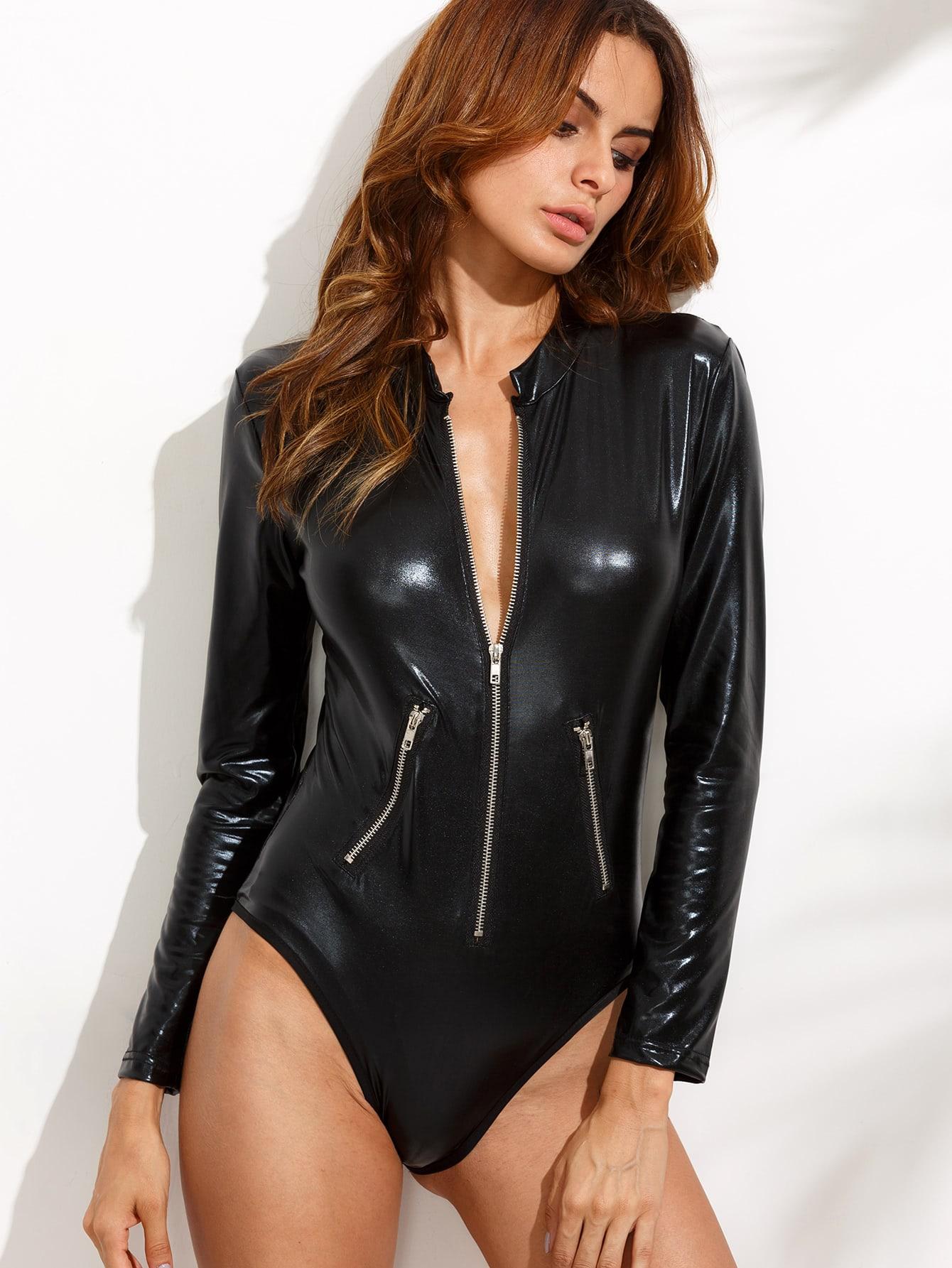 PU Zipper Front Bodysuit bodysuit160706101
