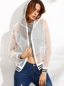 White Striped Trim Organza Mesh Hooded Jacket