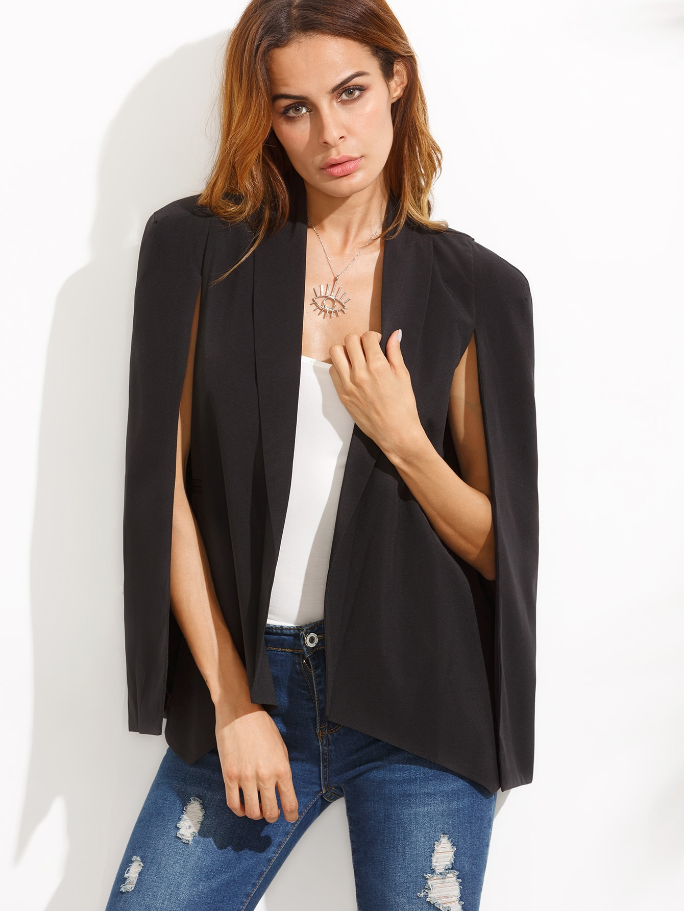Shawl Collar Cape Sleeve Blazer grey lapel collar sleeveless cape
