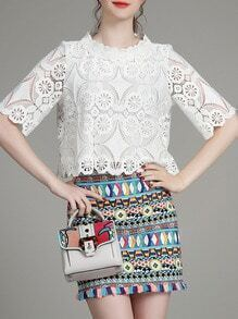 White Crochet Hollow Out Top With Print Skirt