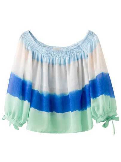 Ombre Smock Off The Shoulder Bow Cuff Blouse