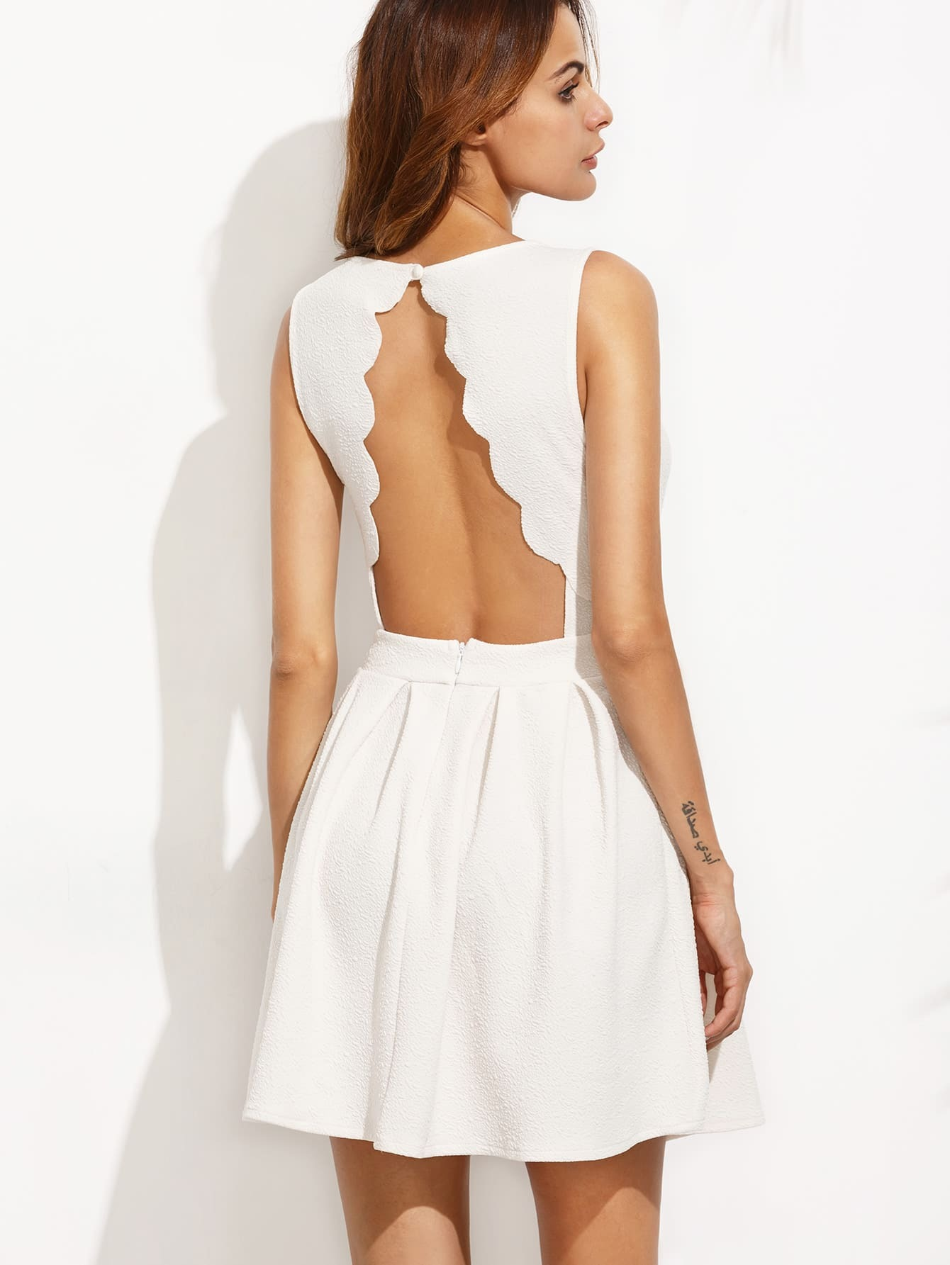 White Scalloped Cut Out A line DressWhite Scalloped Cut Out A line Dress<br><br>color: White<br>size: L,M,S