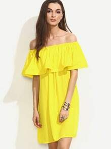 Yellow Ruffle Off The Shoulder Shift Dress