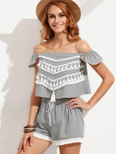 Grey Tassel Off The Shoulder Top With Tie Waist Shorts