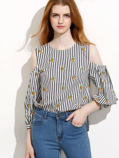 Striped Pineapple Print Cold Shoulder Blouse