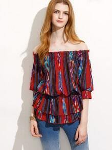Multicolor Print Off The Shoulder Blouse