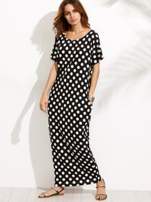 Polka Dot Pocket Maxi Dress