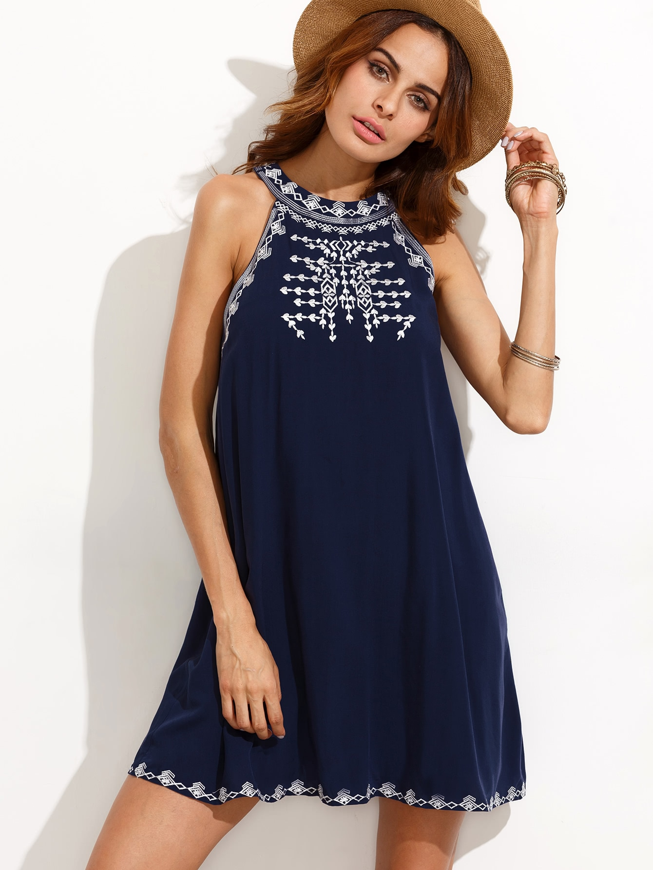 Embroidered Cutout Tie Back Halter Swing Dress long sleeve embroidered swing dress