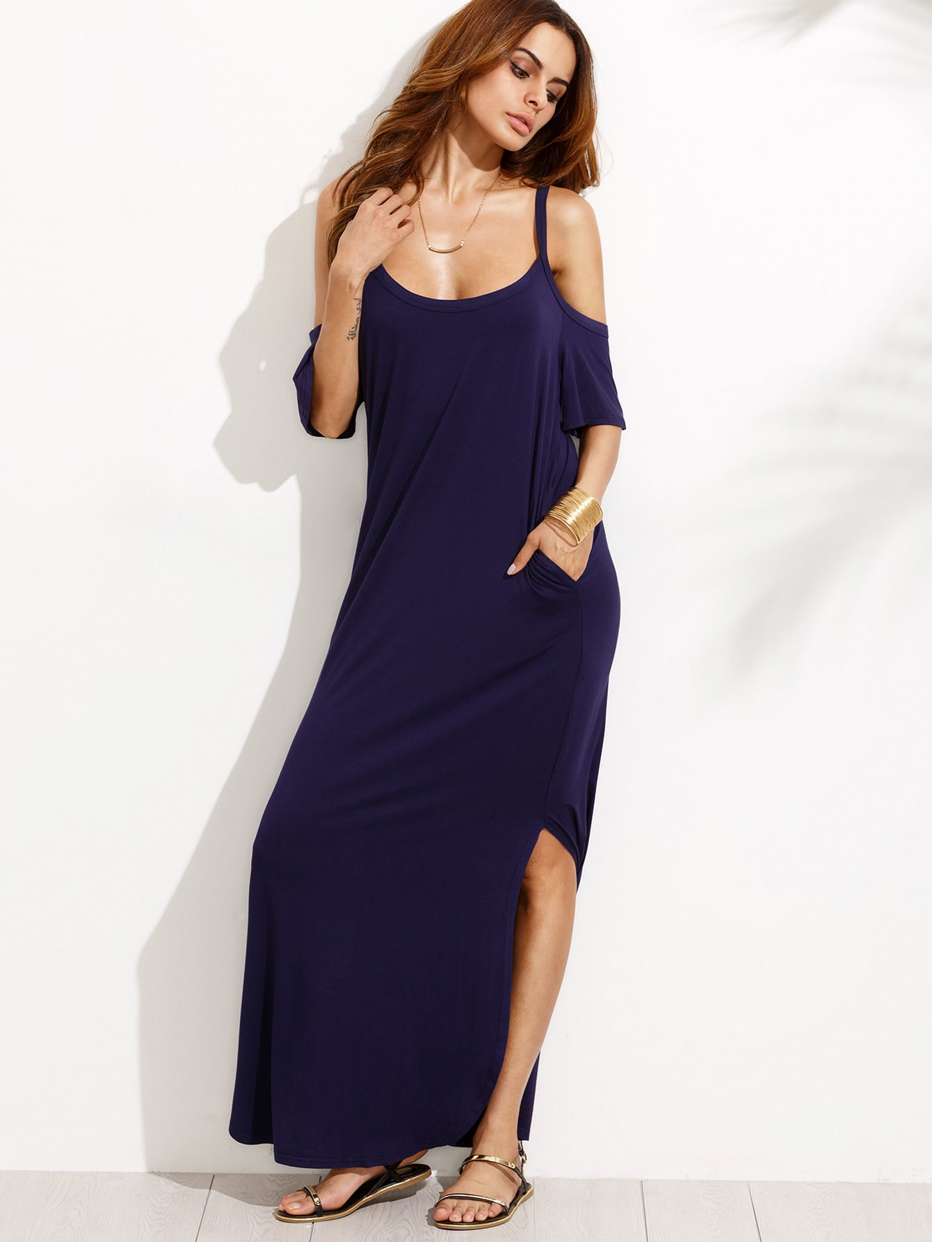 Pocket Open Shoulder Split Full Length Dress pocket open shoulder split full length dress
