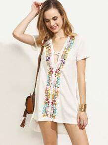 White Crisscross Embroidered Short Sleeve Dress