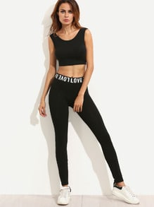 Slogan Print Stretchy Skinny Leggings
