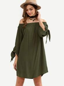 Army Green Tie Cuff Off The Shoulder Shift Dress