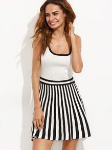 Black White Striped Ribbed A-line Dress