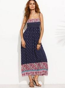 Navy Vintage Print High Waist Cami Dress