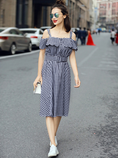 Plaid Frill Cold Shoulder Button Front Dress With Belt