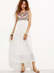 White Tribal Print Chiffon Dress