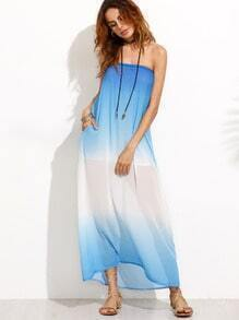 Blue Ombre Chiffon Tube Beach Dress