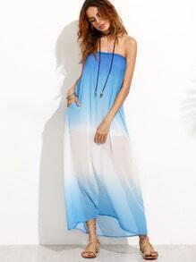 Blue Ombre Chiffon Tube Beach Dress