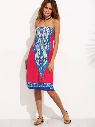 Vintage Print Shirred Tube Dress