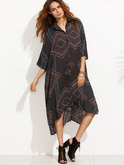 Geometric Print Dip Hem Batwing Shirt Dress