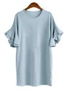 Blue Ruffle Sleeve Tee Dress