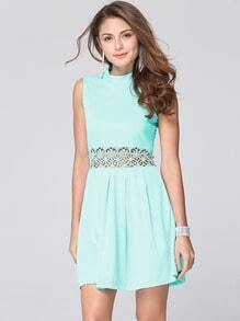 Sky Blue High Neck Crochet Insert A-line Dress
