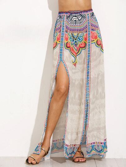 Tribal Print Slit Elastic Waist Skirt