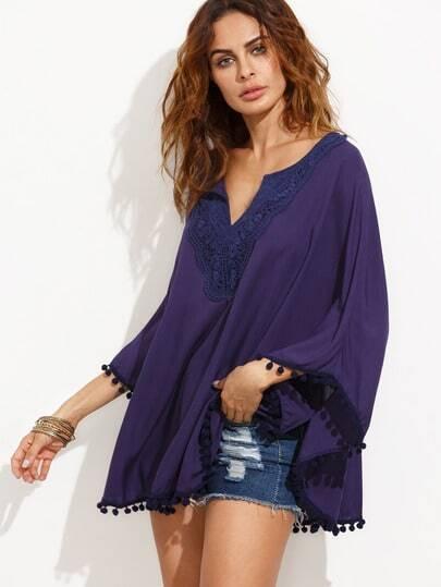 Purple V Cut Crochet Contrast Pom Pom Top