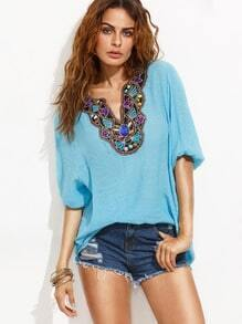 Blue V Cut Faux Gem Insert Embroidered Blouse